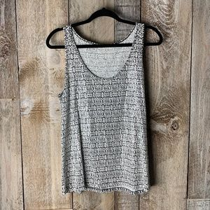 J. Crew Tank Sequin Black & White Patterned Large